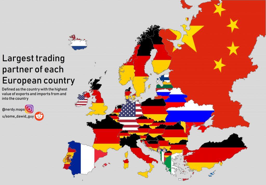 I trade partner in Europa, la cartina