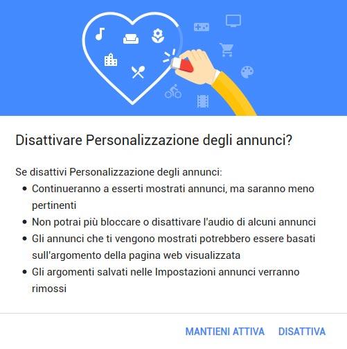 Disattivazione personalizzazione annunci google