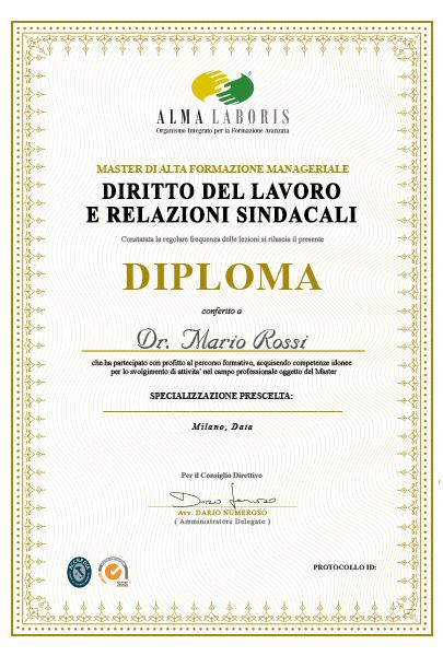 Diploma esperto diritto del lavoro